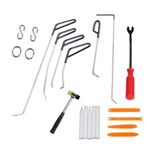 PDR Push Rods Hook Tools with Car radio removal rubber hammer Paintless Dent Repair Car Dent Remove Kit for Hail damage pdr hook push rod spring steel rods hammer tools dent removal car body repair kit hail damage repair dhl tnt spsr free shipping