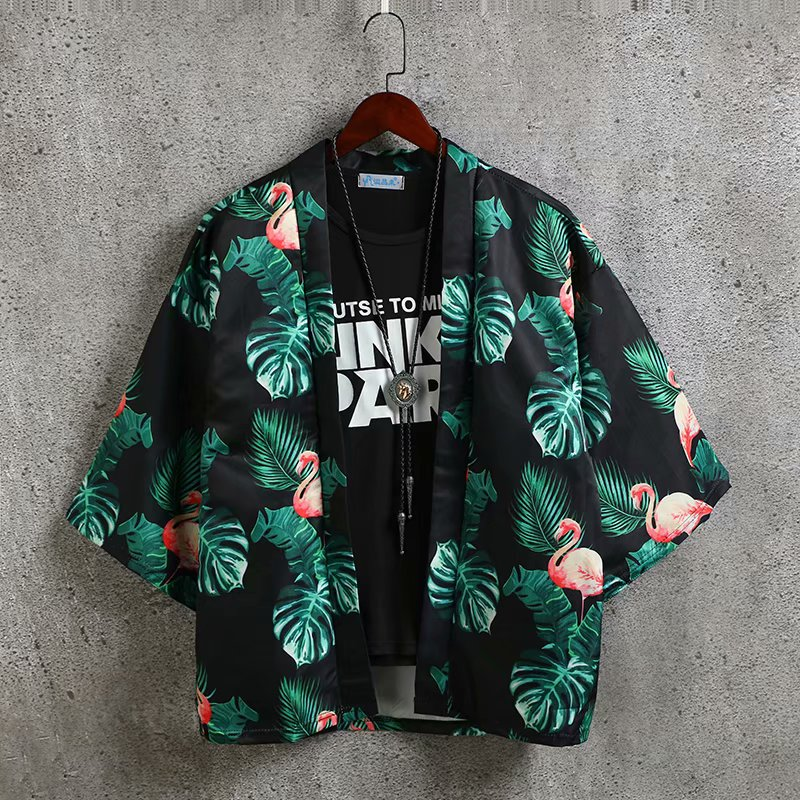 Jacket Cardigan Kimono Japanese-Style Harajuku-Coat Streetwear Cotton Summer Loose Open-Stitch
