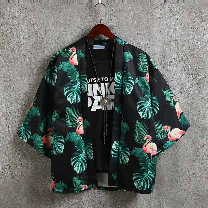 2019 Summer Mens Kimono Shirt Japanese Kimono Cardigan Jackets Patterns Clothing Coats