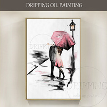 Free Shipping Cheap Price High Quality Hand-painted Lover Oil Painting on Canvas Abstract with Pink Umbrella