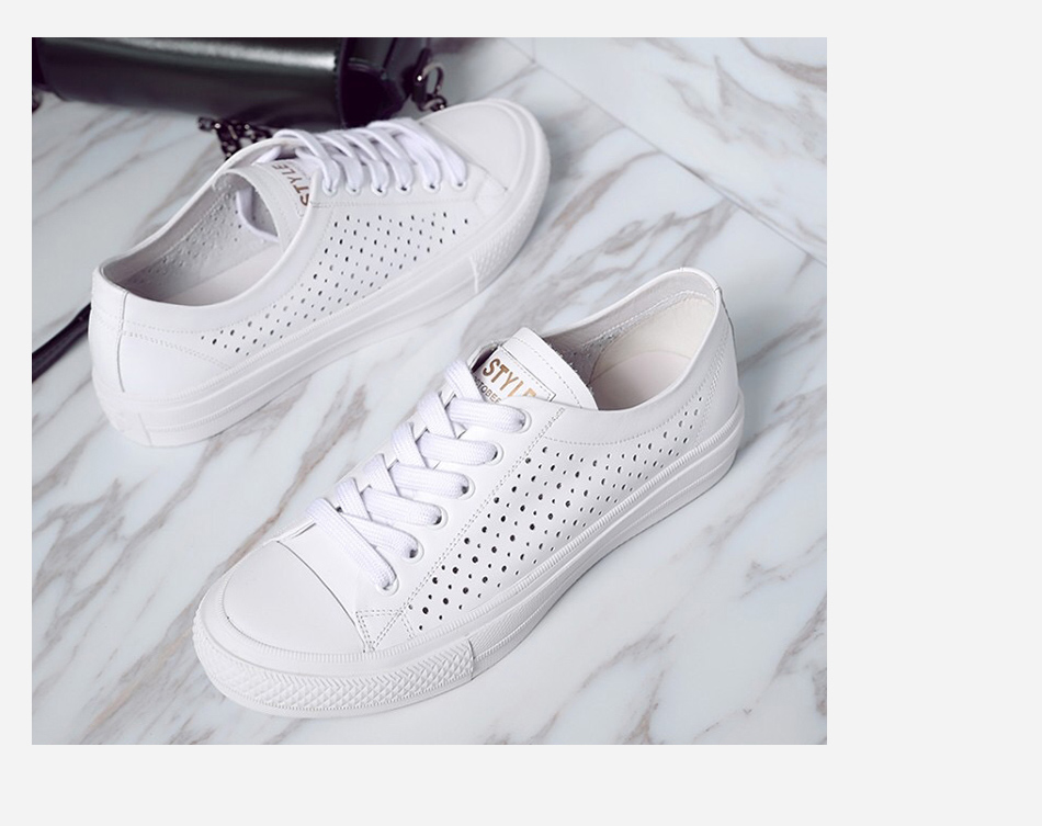 Donna-in 2019 New Women Flats Sneakers Genuine Leather Shoes Lace-up Cut-outs Flat Casual Women Shoes Hollow Summer Black White (15)