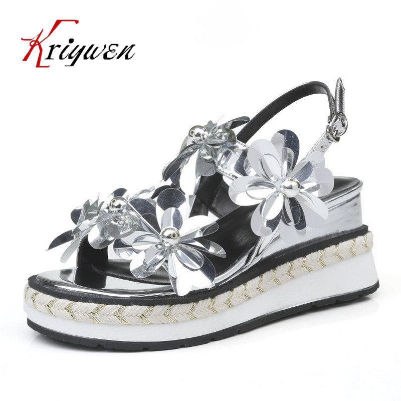 ФОТО New summer genuine leather flowers women party shoes wedges high heels wedding shoes elegant black silver woman party sandals
