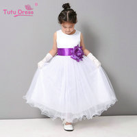 Wavy Edge Girl Dress Summer Cheap White Stain Dress For Children Toddler Kids Teen Girls