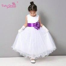 Flower Girl Dresses Summer Cheap White Stain Dress for Children Toddler Kids Wedding Tutu Dress