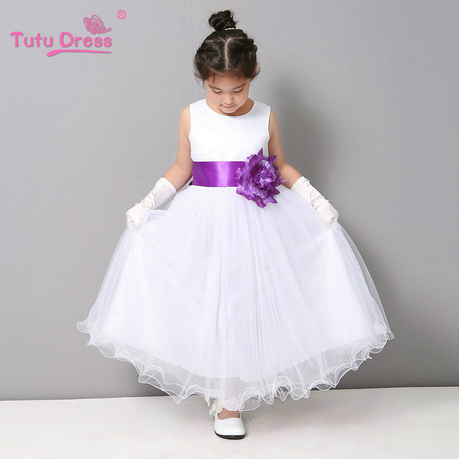 Flower Girl Dresses Summer Cheap White Stain Dress for Children Toddler Kids Wedding Tutu Dress