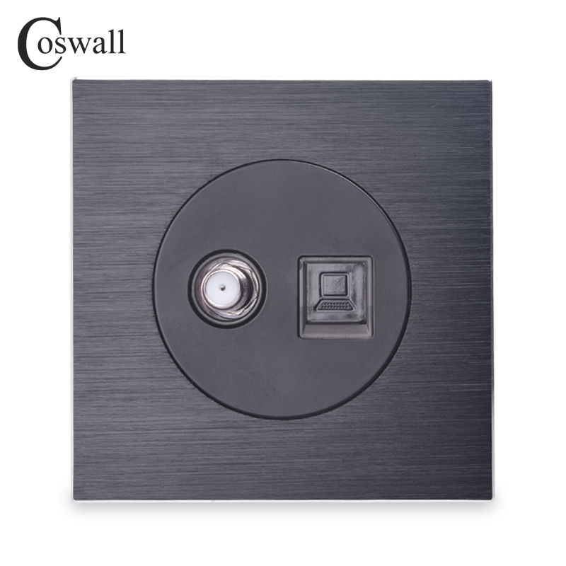 Coswall Luxurious Black Aluminum Panel Satellite Socket For Television Wall Power Outlet RJ45 Data Internet Computer Jack