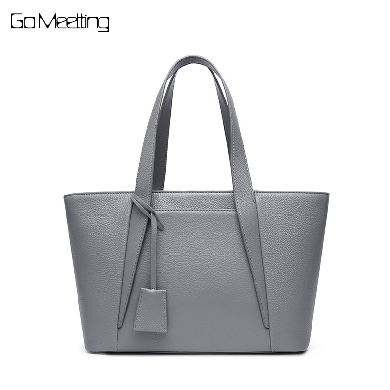 Go Meetting Genuine Leather Women Tote Bags Fashion Crossbody Bag Handbags Famous Brands Cow Leather Shoulder Messenger Bags