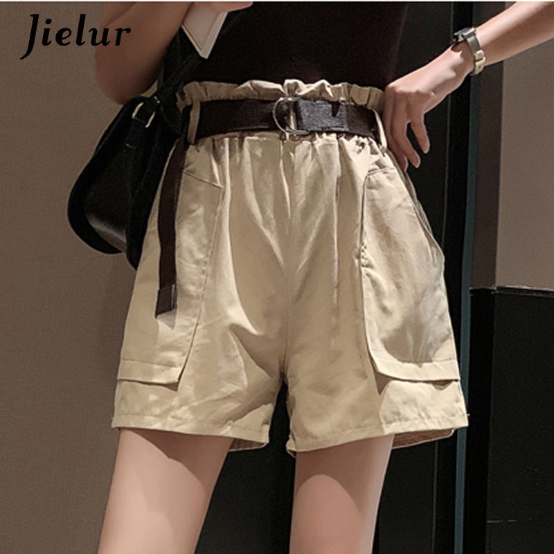 Jielur Shorts Women Pantalon Cargo-Streetwear Elastic High-Waist Summer Casual Lady Corto