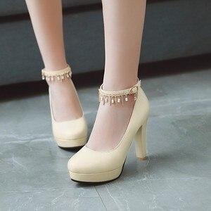 Image 1 - Große Größe 11 12 13 14 15 16 17 damen high heels frauen schuhe frau pumpen Paket die ferse Paket zehen Dick mit sandalen