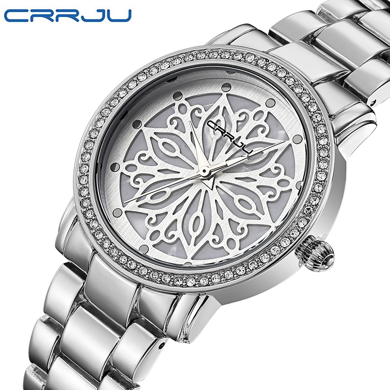 Crrju  Top Brand Women Watches Women Quartz Clock Ladies Silver Stainless Steel Fashion Casual Wrist Watch Gift Montre Femme 2016 new high quality women dress watch crrju luxury brand stainless steel watches fashion wrist gift watch men wristwatches