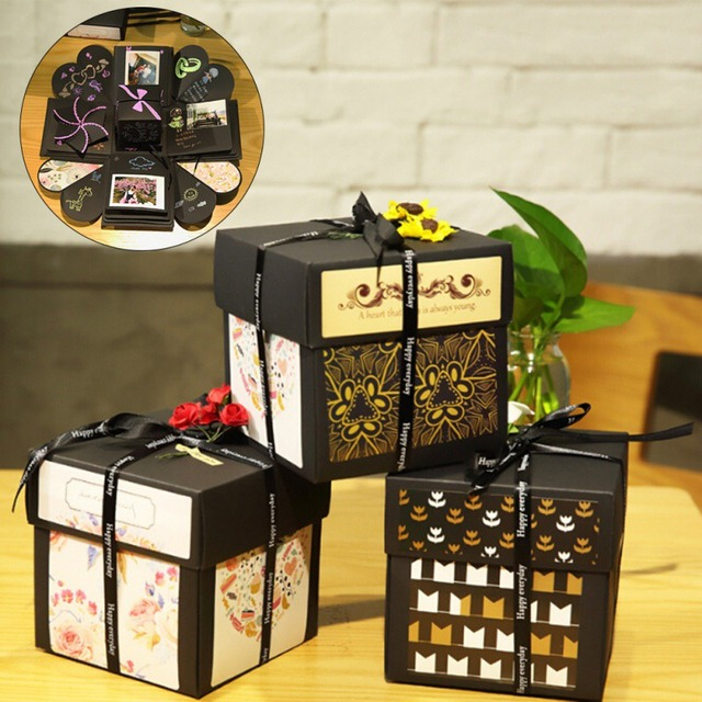 12x12x12cm DIY Surprise Love Explosion Box Gift For Anniversary Scrapbook Photo Album Birthday Gifts In Party Decorations From Home