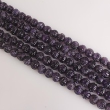 6 8mm Natural Flower Carved Amethyst Round Purple Quartz Crystal Gemstone Loose Beads For Necklace Bracelet DIY Jewerly Making