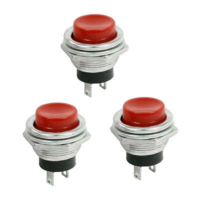 3 Pcs Momentary SPST NO Red Round Cap Push Button Switch AC 3A/125V