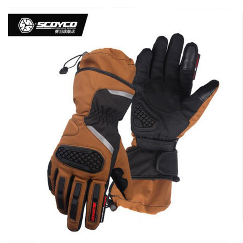 2017 Winter New Waterproof warm SCOYCO Motorcycle Gloves MC48-2 Motorbike Glove Anti wrestling made of nylon Polyester PVC
