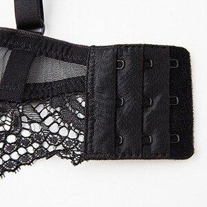 Image 5 - Varsbaby Sexy Lace Lingerie Gather Underwear Push Up Bra Sets Bra+Panties+Garter+Stocking 4 Pieces
