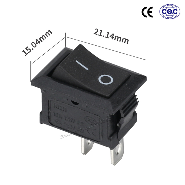 2 pins 6A/250VAC 10A/125VAC SPDT rocker boat switch 2 position 2 files ON OFF latching rectangle power switch copper pin black