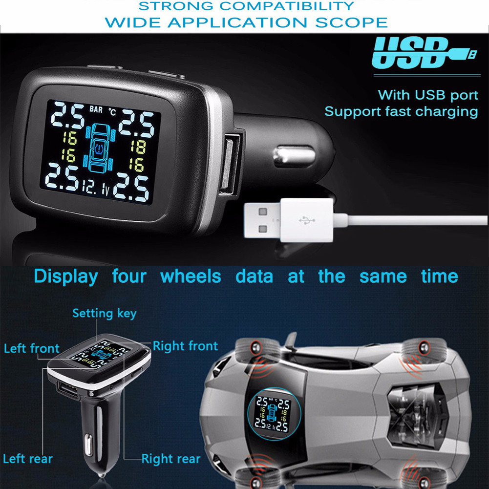Smart 2018 Tire Pressure Alarm Car Charger Wireless Smart TPMS 12V Real Time Digital Tire Pressure Monitoring System