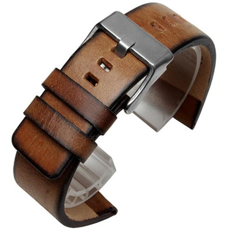 Retro Calfskin Leather Watch Strap Band Bracelet 24mm For PAM For fossi