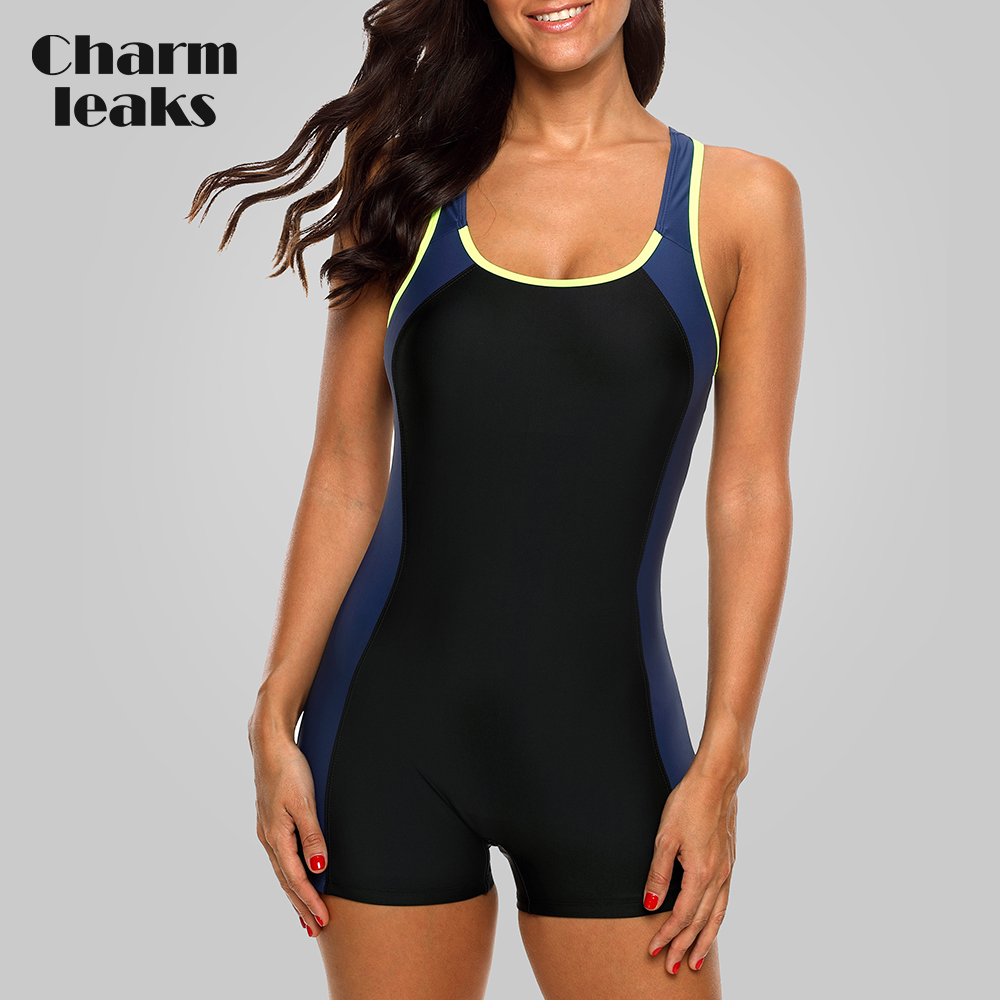 Charmleaks One Piece Women Sports Swimsuit Colorblock Swimwear Open Back Beach Wear