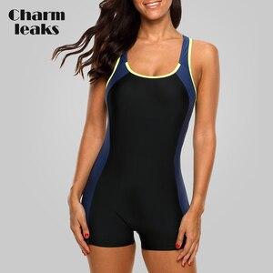 Image 1 - Charmleaks One Piece Women Sports Swimwear Sports Swimsuit Colorblock Swimwear Open Back Beach Wear Bathing Suits Bikini