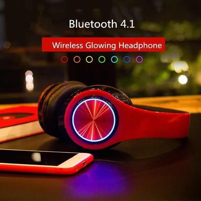 BH3 светящиеся наушники Bluetooth 4,1 беспроводные бас-наушники стерео светодио дный Складные светодиодные наушники TF карта Mp3 плеер для телефона ПК
