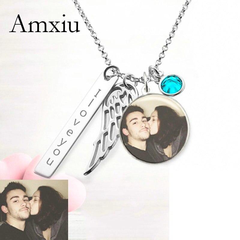 Amxiu personnalisé Photo collier nom personnalisé collier 925 bijoux en argent Sterling aile pendentif collier pour femmes accessoires
