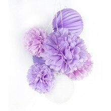 купить Pack Of 7pc Paper Crafts Pom Pom Flower Paper Lantern For Events Party Home Ceiling Garden Decoration  Birthday Wedding Decor по цене 275.87 рублей