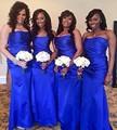 Fashion Royal Blue Satin Bridesmaid Dress Strapless Long Dress For Wedding Party Vestido da dama de honra