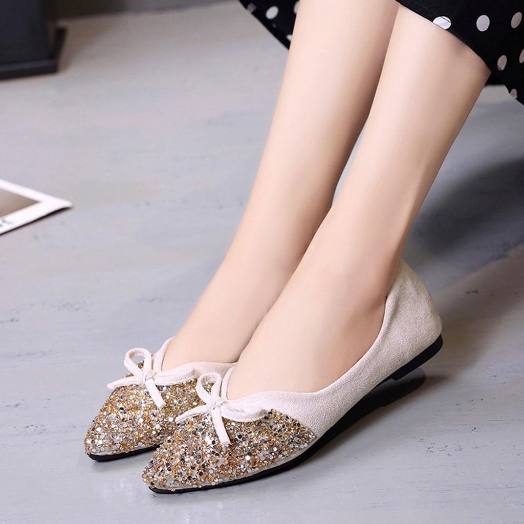 Peu Zapatos Bout black forme Style Pointu Plate Bowknot Cristal Élégante Femmes De Mujer Profonde Chaussures Mode À Bling Coréen red Beige Féminine CfzwqCT