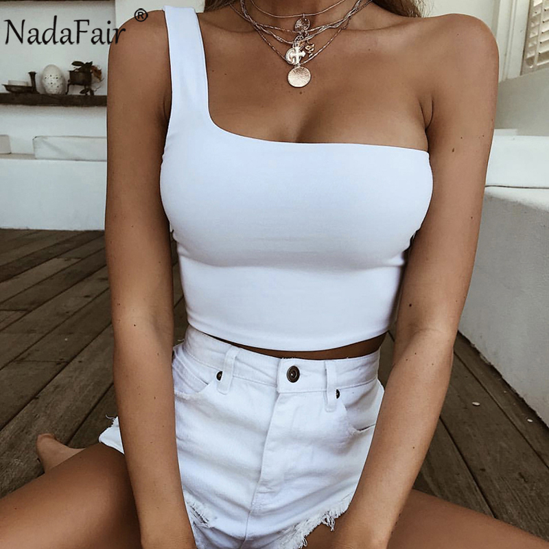 Nadafair One Shoulder Summer Tank Tops Women Sleeveless Wrap Casual Sexy Crop Tops White ...