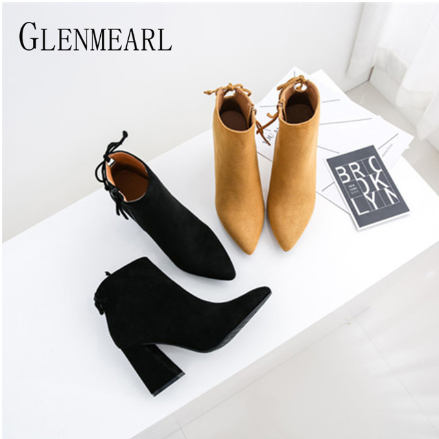 Ankle Boots For Women Winter Shoes Brand Thick Heels Pointed Toe Female Boots Autumn Casual Shoes Ladies 2019 DE