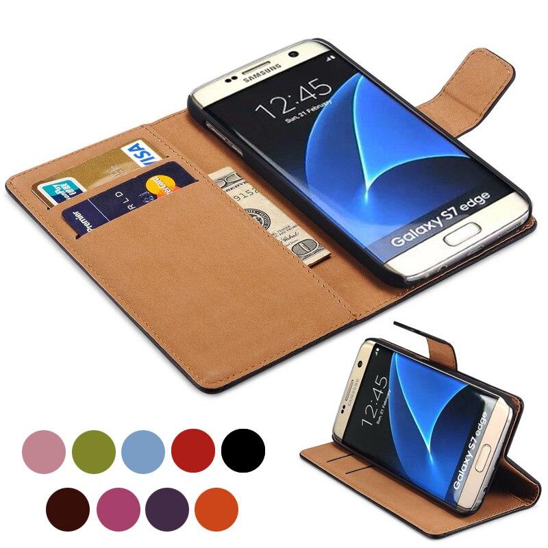 buy online 3f527 2ec8c Wallet Genuine Leather Case for Samsung Galaxy S7 Edge S7 Coque ...