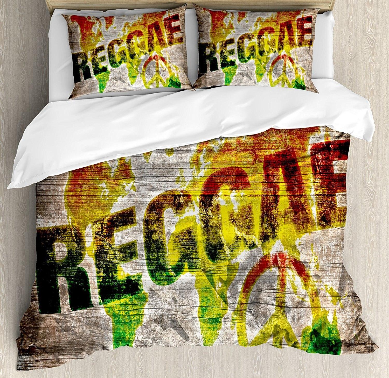 Rasta Dekbedovertrek Set Wereldkaart op Plaques met Reggae Belettering en Vredessymbool Decoratieve 4 Stuk Beddengoed Set in Rasta Dekbedovertrek Set