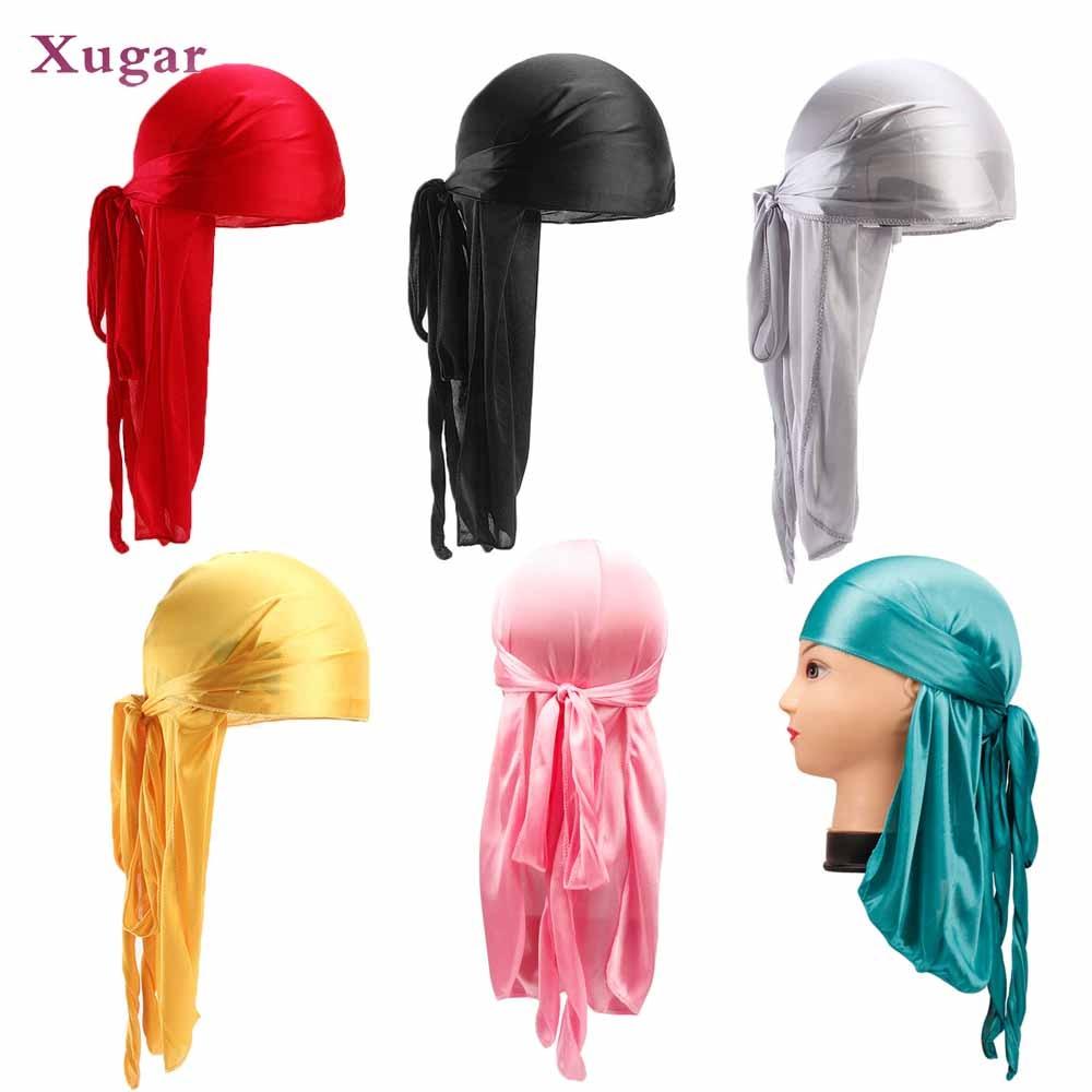 Xugar Hair Accessories Satin Durag Headbands Silky Hip Hop Long Tail Pirate Hat Men Women Breathable Wigs Turban Cap Bandanas