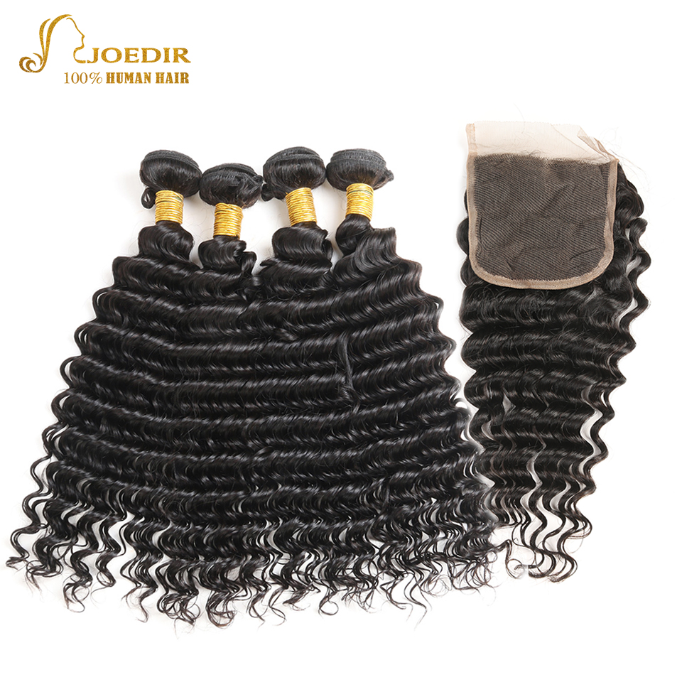 Joedir Brazilian Hair with Closure 4 Bundles with Closure Deep Wave 5 PCS Lace Closures with Hair Weaves Human Hair Bundles