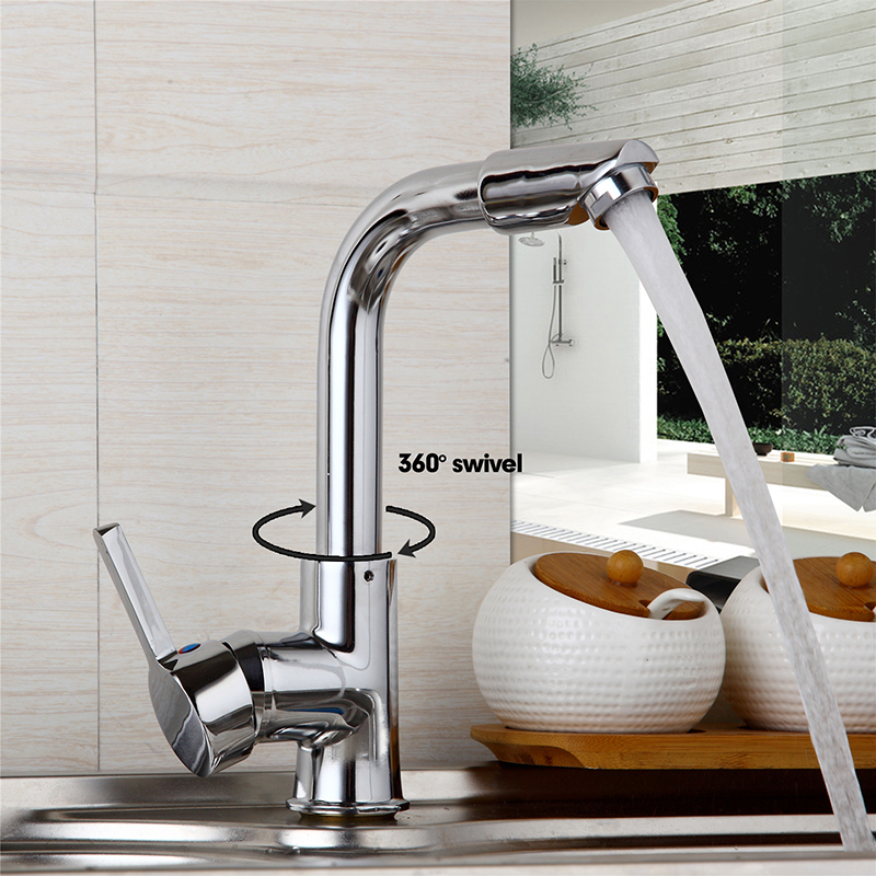 360 Swivel Spout Deck Mounted Chrome Finish Bathroom Basin Hot Cold Water Mixer Kitchen Sink Taps
