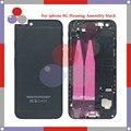 Высокое качество Для iphone 6 6g Полный Жилищно Ассамблея черный задняя Крышка Батареи с Sim-карты Лоток + Кнопки + Flex кабели