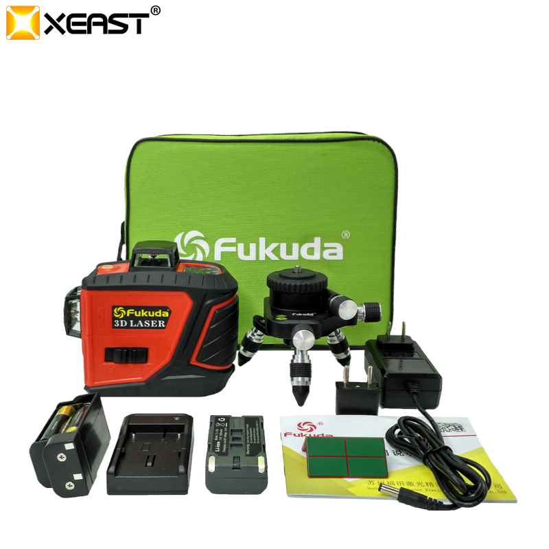 Fukuda 12Lines 3D MW 93T self Leveling 360 Horizontal And Vertical Cross Super Powerful Red Green