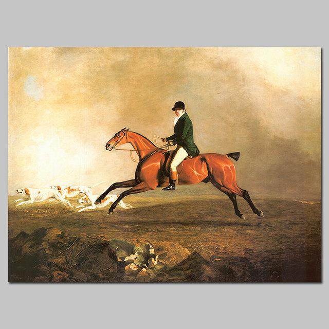 European Style Lord Nobleman Dog Puppy Hunting Picture Decoration Horse Canvas Painting Wall Art Living Room