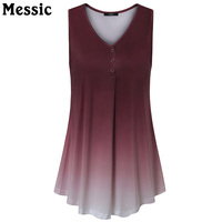 Messic Casual Gradient Color Tunic Knitted Tank Top Women V Neck Pleated Cami 2017 Summer Autumn