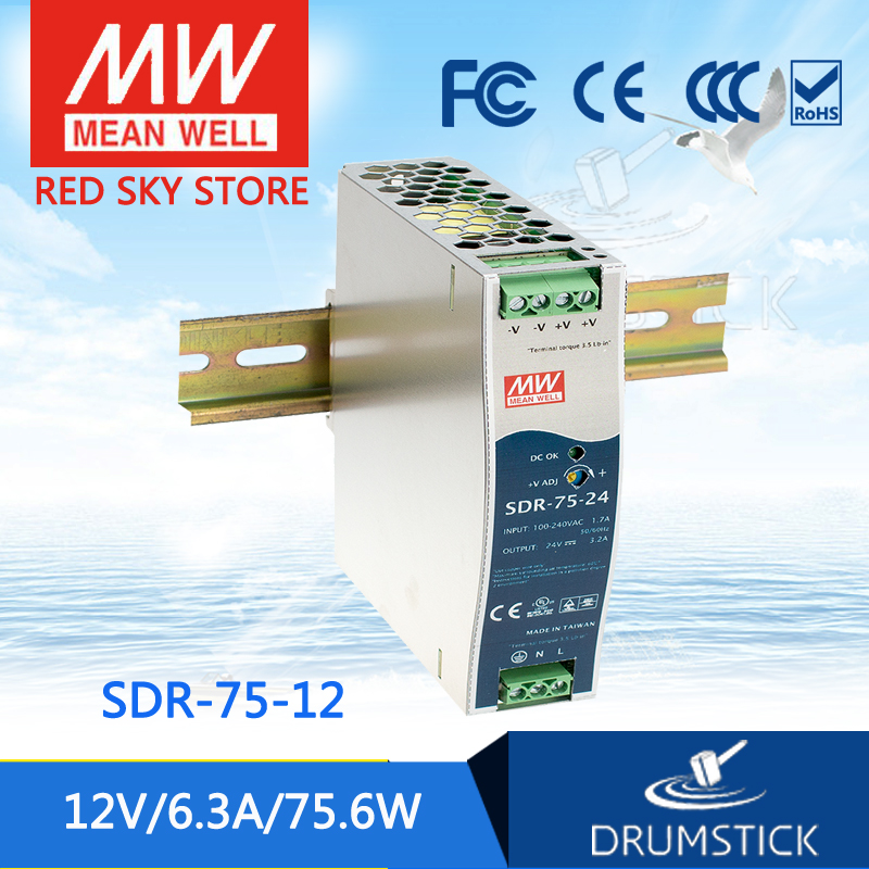 [Authentic1] MEAN WELL SDR-75-12 12V 6.3A meanwell SDR-75 12V 75.6W Single Output Industrial DIN RAIL with PFC Function