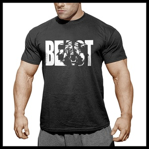 Мужские спортивные футболки Beast, облегающие спортивные футболки для бодибилдинга, фитнеса