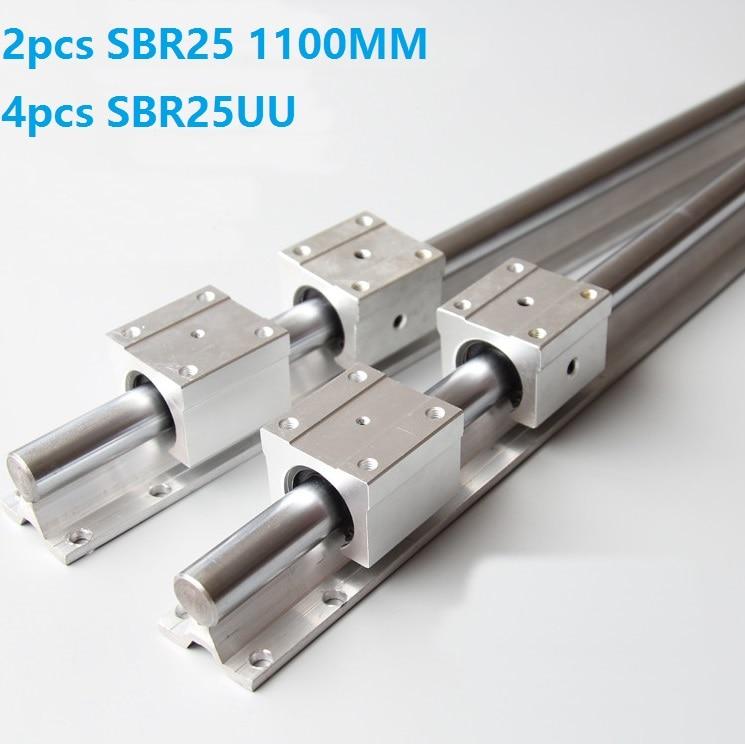 2pcs SBR25 25mm -L 1100mm support rail linear guide + 4pcs SBR25UU linear bearing blocks CNC parts linear rail 2pcs SBR25 25mm -L 1100mm support rail linear guide + 4pcs SBR25UU linear bearing blocks CNC parts linear rail