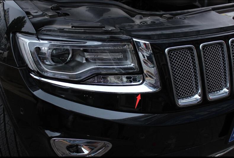 Für Jeep Grand Cherokee 2014 2015 2016 Chrome Frontscheinwerfer Lampe Augenlid Abdeckung Trim 2 Teile / satz