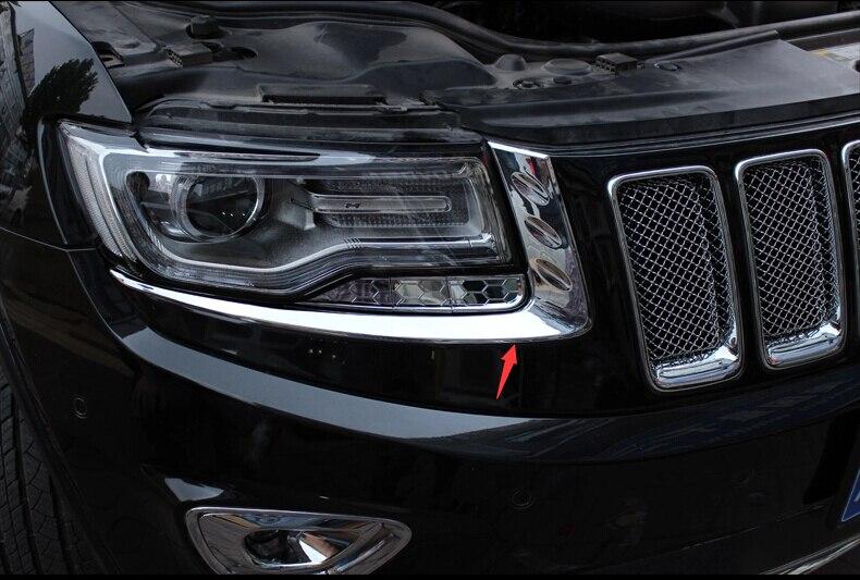 Jeep Grand Cherokee 2014 2015 2016 용 크롬 프론트 헤드 라이트 램프 눈꺼풀 트림 2 매입 / 세트