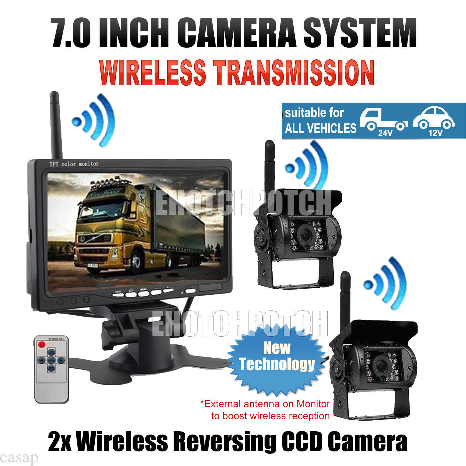 Wireless Vehicle Backup Cameras Parking Assistance System with 2 Pcs Night Vision Rear View Camera and 7 Monitor for RV Truck wireless dual backup cameras parking assistance night vision waterproof rear view camera 7 monitor for rv truck trailer bus page 6