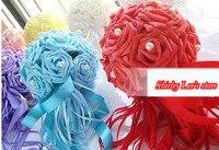 משלוח חינם ! ( 4 יח'\חבילה ) 2013 העיצוב החדש מלאכותי קצף רוז זר w / פרל מרכז בכחול , אדום , סגול , חם ורוד חתונה