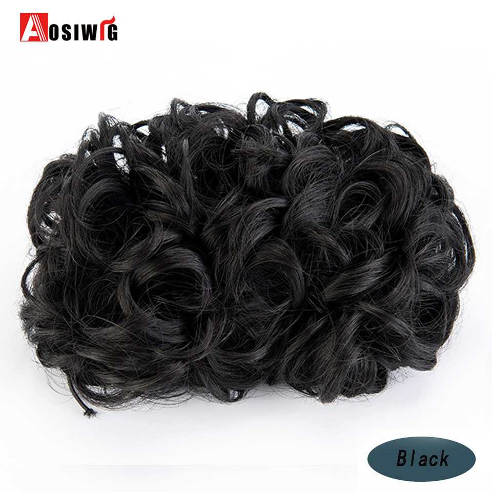 Curly Chignons Elastic Extensions Hair Synthetic Hair Ribbon Ponytail Hair Bundles Updo Hairpieces Hair Buns AOSIWIG