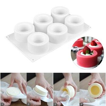3D 실리콘 몰드 6 구멍 푸딩 컵케익 아트 케이크 몰드 베이킹 과자 무스 초콜릿 몰드 케이크 도구