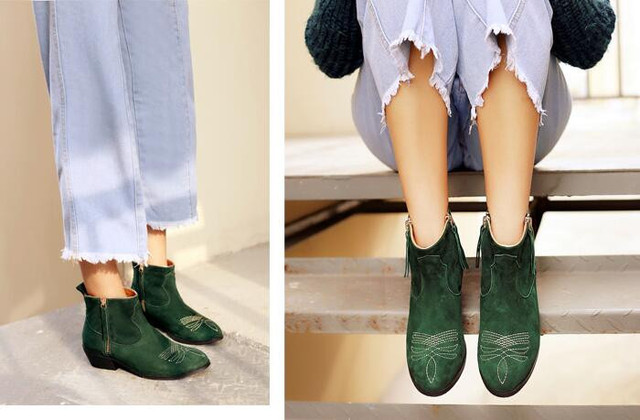 6b77e4c48 Green Boots 2017 Newest Fashion Women Ankle Booties Celebrity Love Shoes  Retro Style Embroidery Suede Short Boot Thick Heel